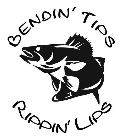 Photo of Bendin' Tips Rippin' Lips Walleye Fishing Window Wall Decal Boat Trailer Truck Tackle Box Lake River