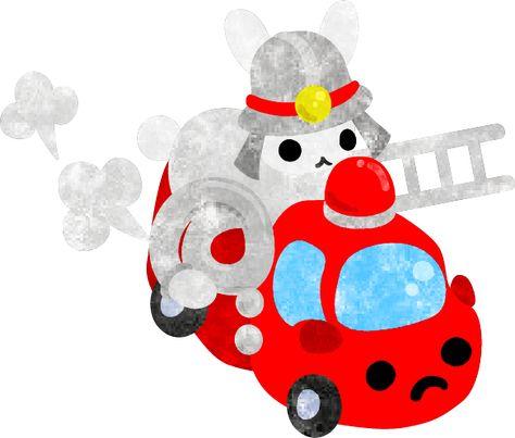 Atelier B W フリーのイラスト素材 消防士の姿をした可愛いウサギ Free Illustration The 消防士 ペンギン 赤ちゃん イラスト