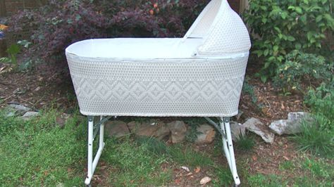 Classic White Wicker Rolling Baby Basinet Bed by RamshackleVilla, $95.00