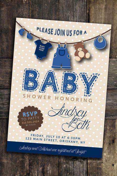 Custom Baby Shower Invite Personalized Digital File Boy Girl   Etsy