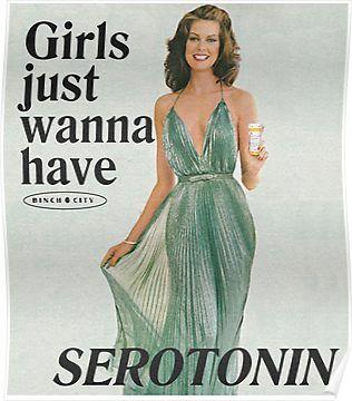 'Girls Just Wanna Have Serotonin' Poster by binchcity Vintage Humor, Vintage Comics, Vintage Ads, Weird Vintage, Funny Vintage, Vintage Stuff, Vintage Books, Retro Aesthetic, Vintage Frames