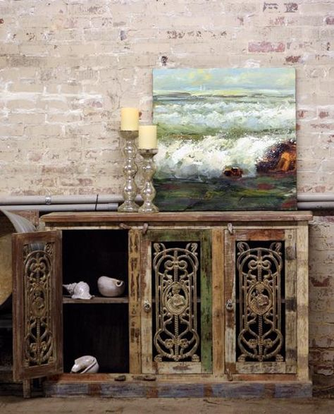 Teak Console With Iron Doors Distressed Furniture Made In India