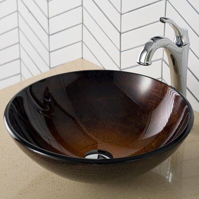 Kraus Glass Circular Vessel Bathroom Sink With Faucet Faucet Finish Chrome In 2020 Glass Sink Faucet Vessel Sink Bathroom