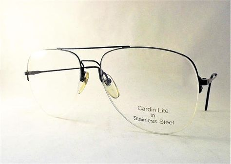 b503c735433 Blue Metal Rimless Aviator Eyeglasses Vintage 1980s Designer Glasses ...