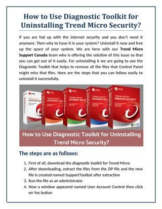 How to Use Diagnostic Toolkit for Uninstalling Trend Micro Security