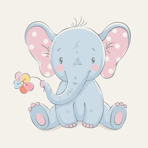 Cute elephant with a flower cartoon hand drawn vector illustration. Can be used for baby t-shirt print, fashion print design, kids wear, baby shower celebration greeting and invitation card. Vinyl Wall Mural - Animals