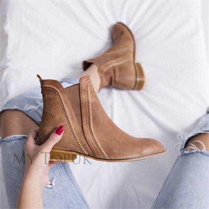 Mavlen Taba Deri Bot Bayan Ayakkabi Cizmeler Ve Ayakkabilar