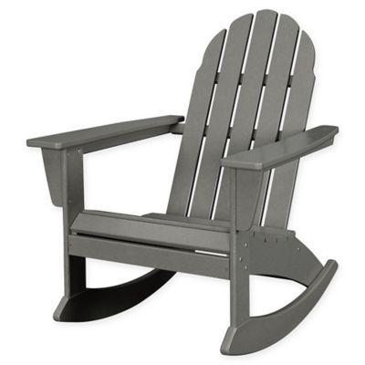 Polywood Vineyard Outdoor Adirondack Rocking Chair In Slate Grey
