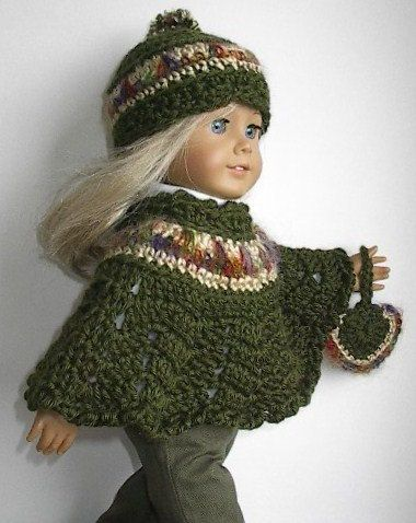 American Girl Doll Clothes Crocheted Poncho Beret And Mitten Set