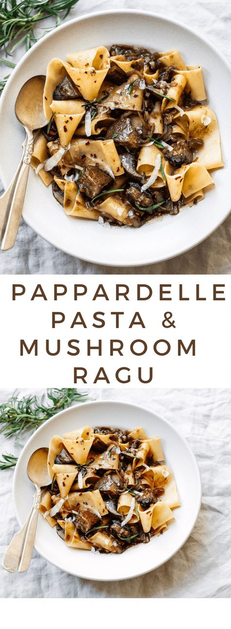 Pappardelle Pasta with Rosemary Portobello Mushroom Sauce. Pappardelle Pasta with Wild Mushroom Ragu Enjoy this hearty, autumnal pappardelle pasta with fresh rosemary and portobello mushrooms in warm bowls, with a glass of red wine on the side :) Vegetarian Pasta Recipes, Cooking Recipes, Healthy Recipes, Salad Recipes, Easy Recipes, Cooking Tips, Quick Pasta Recipes, Veggie Recipes, Vegetarian Diets