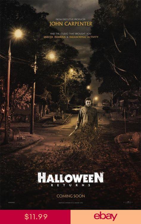 "2018 Halloween Returns Movie Terror Film Fabric Poster 18x12 36x24 40x27/"""
