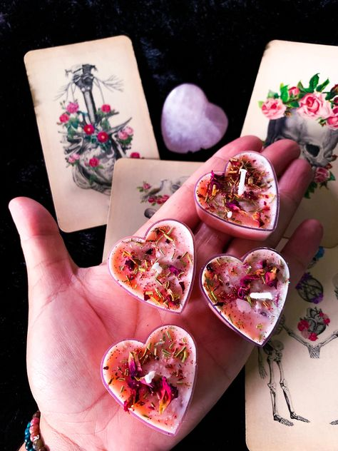 Heart Tea Light Candles by SwordsNCupsEsoterics on Etsy Homemade Candles, Diy Candles, Tea Light Candles, Tea Lights, Yankee Candles, Party Food Table Ideas, Diy Crafts To Do, Romantic Night, Candlemaking