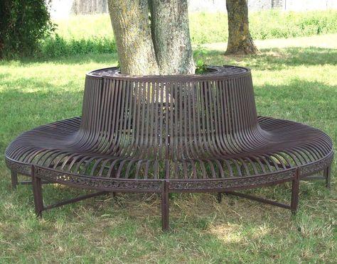 style ancien grand beau banc fauteuil tour d arbre en metal ...