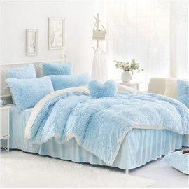 Solid Light Blue And White Color Blocking Fluffy 4 Piece Bedding Sets Duvet Cover Light Blue Bedding Bedding Sets Bed Linens Luxury
