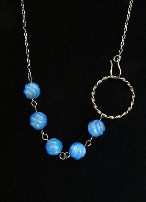 Carved Blue Agate Necklace  BHV by BoydJewelryDesign on Etsy, $45.00