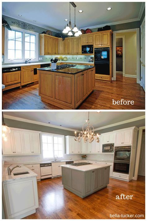 40 Trendy Painting Kitchen Cabinets Before And After Brown Kitchen Cabinets Repainting Kitchen Cabinets Kitchen Cabinets Painted Before And After