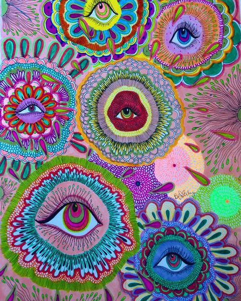Beverly Salas' Art is Like an Acid Trip Sans the Acid Trippy Drawings, Art Drawings, Indie Drawings, Psychedelic Art, Psychedelic Pattern, Photo Wall Collage, Collage Art, Picture Wall, Arte Peculiar