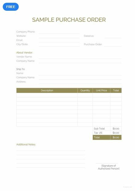Free Sample Purchase Order Purchase Order Template Purchase