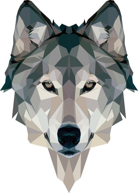 картинки волка из треугольников они полностью