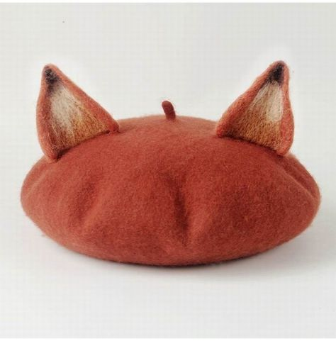 Cat Ear Beret, Fox Ears, Wool Berets, Animal Hats, Ear Hats, Cute Fox, Cute Hats, Felt Animals, Hats For Women