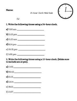 24 Hour Clock Time Measurement Quizzes Ontario Grade 5 Curriculum 24 Hour Clock Curriculum Quizzes