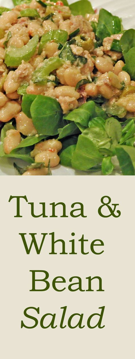 Tuna and White Bean Salad on Spring Greens Simple pantry salad with home-made vinaigrette #TunaSalad #WhiteBeanSalad #SpringSalads #Vinaigrette #HomeMadeSaladDressing