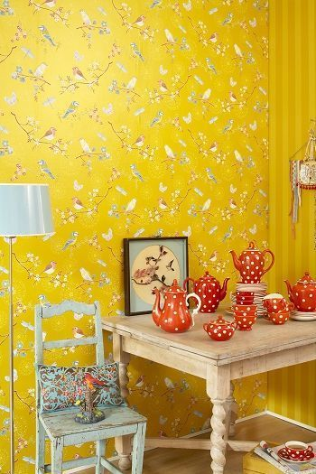Pin By Olivia Wilhelmina Ruiz On Decor Color Home Wallpaper Yellow Wallpaper Striped Wallpaper Yellow