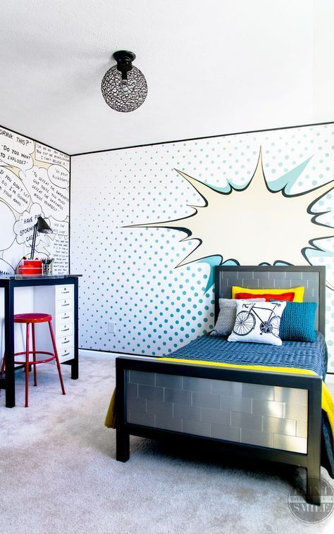 Fun Kids Bedroom Makeover All Diy And All For Under 500 This Room Is Full Of Crea Bedroom Furniture Layout Pop Art Bedroom Bedroom Makeover Before And After