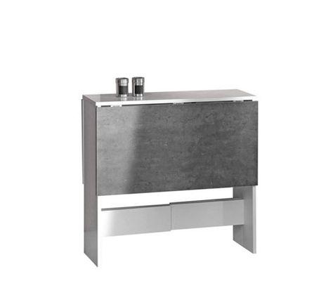 Table de cuisine pliable LEANE Blanc et gris | Table de ...