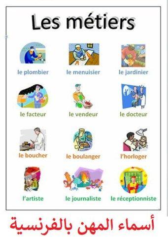 أسماء المهن بالفرنسية مترجمة بالعربية les professions en français | تعلم اللغة  الفرنسية للمبتدئين … | French vocabulary, French education, French teaching  resources