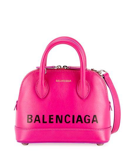 fd57fc0910b145 BALENCIAGA | Ville XXS Logo Top-Handle Bag - Pink | $1,790.00 | Balenciaga  leather handbag with signature logo print. Rolled top handles.