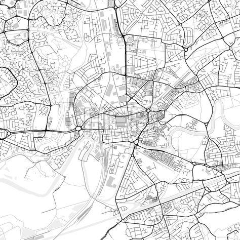 Downtown map of Warrington, light | Streit