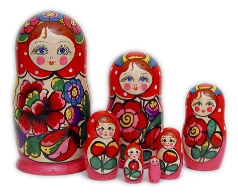 Old Style Flowers Matryoshka Matreshka Babooshka Russian Nesting Dolls 7 Pcs