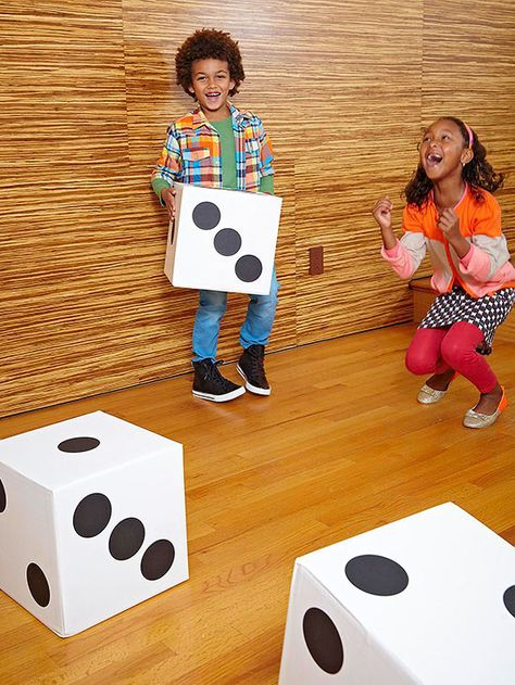 Turn cardboard boxes into giant DIY dice for this super-fun math game! #education #recycling #kidsactivity