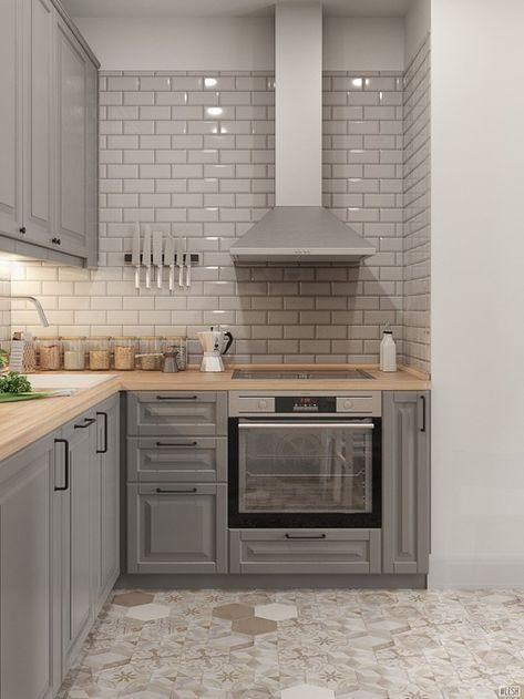 Graue Kuche Mit Holzplatte Die Kuche Graue Holzplatte Kuche Gray Kitchen With Wooden To In 2020 Kitchen Remodel Small Kitchen Design Diy Kitchen Renovation