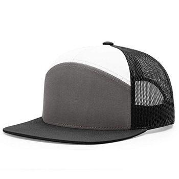 Wholesale Low Moq Custom Label Adjustable Flat Bill Cotton Camper 7 Panel Snapback Trucker Cap Hat Flat Bill Hats Cool Hats Hats