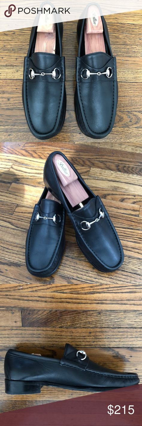 fecd1d1bf05 Classic Gucci Horsebit Loafers Black size 10 Men s Gucci black leather  silver horsebit slip-on loafer shoes. Very nice