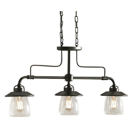 Zoomed: allen + roth 3-Light Mission Bronze Edison Style Island Light with Clear Shade