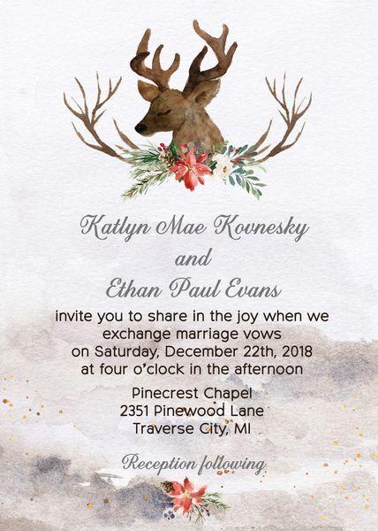 Winter Watercolor Deer Wedding Invitation Woodland Wedding Invitation Win Pinecone Wedding Invitations Christmas Wedding Invitations Deer Wedding Invitations