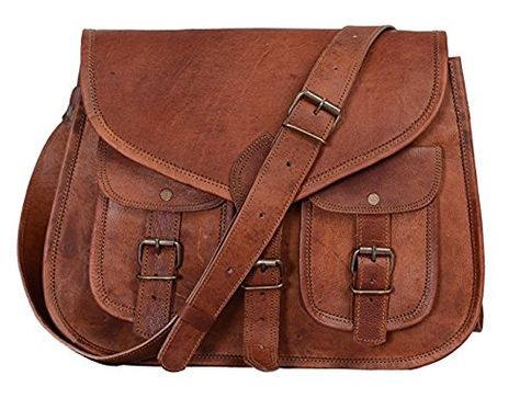 "14/"" Women Vintage Looking Genuine Brown Leather Tote Shoulder Bag Handmade Purse"