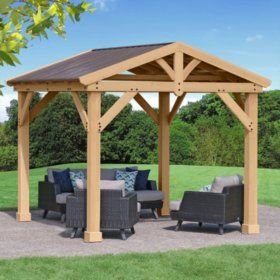 Yardistry 10 X 10 All Cedar Pavilion With Aluminum Roof Sam S Club In 2020 Backyard Pergola Patio Gazebo