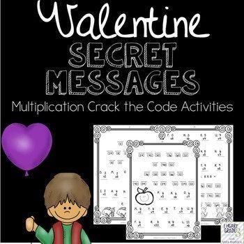 Valentine Secret Multiplication Math Messages Valentines Day Messages Math Multiplication