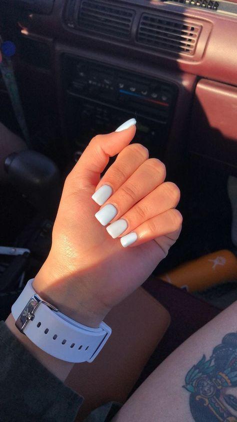Short blue square acrylic nails #AcrylicNailsSquare #AcrylicNailsStiletto