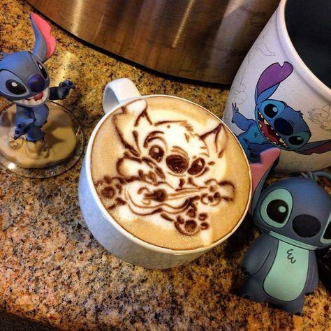 Stitch latte art