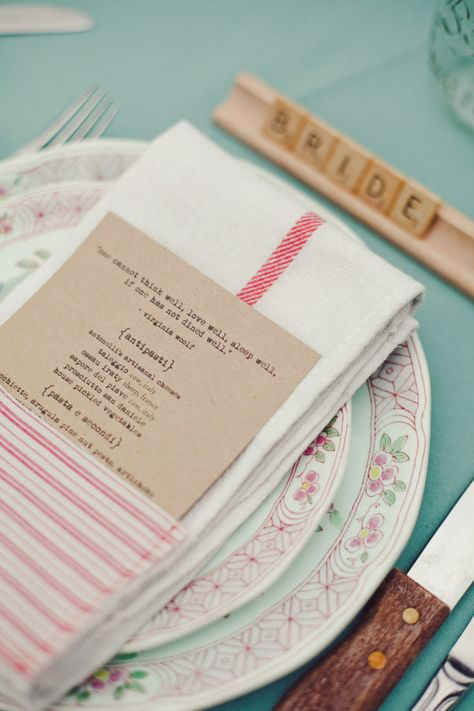scrabble nametags and a wonderful quote from Virginia Wolf all made it onto this tablescape  Photography by jnicholsphoto.com, Wedding Coordination by threeapplesevents...
