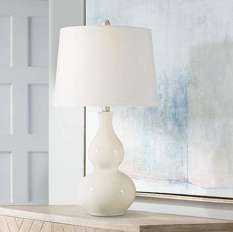 Oversized Cream Ceramic Table Lamp