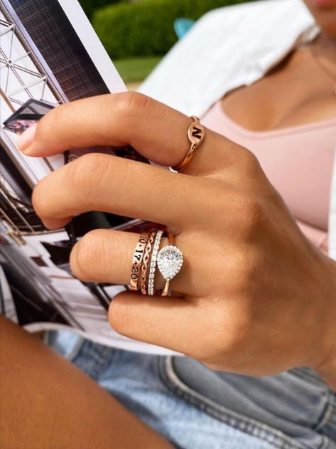 Follow the link to Shop the Perfect Pear Stack in 10K Rose Gold & save big! Cute Jewelry, Jewelry Rings, Jewelry Accessories, Jewellery, Classic Engagement Rings, Cute Rings, Dream Ring, Silver Man, Ethnic Jewelry