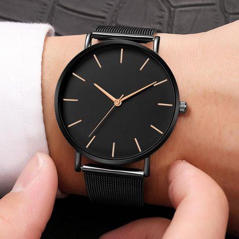 Modern Fashion Black Quartz Watch Women Mesh Stainless Steel Bracelet High Quality Casual Wrist Watch for Woman