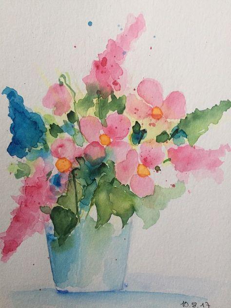 Original Aquarell Aquarellmalerei Bild Kunst Blumenstrauss Blumen