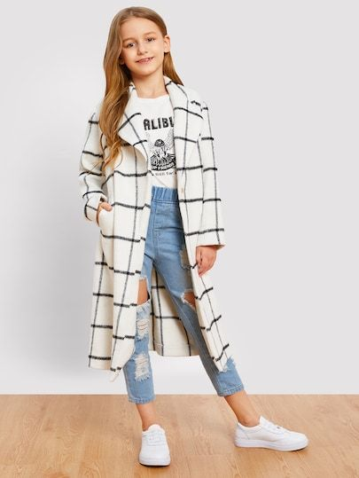 To find out about the Girls Single Button Grid Print Longline Coat at SHEIN, part of our latest Girls Jackets & Coats ready to shop online today!